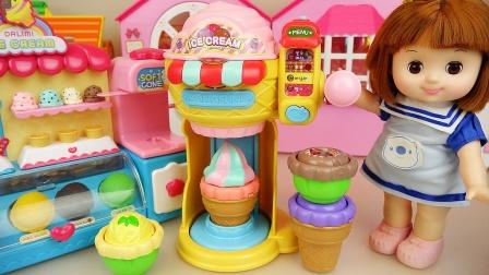 宝宝多莉和玩具朋友们 宝宝多莉和冰淇淋机器玩具和咖啡厅玩具