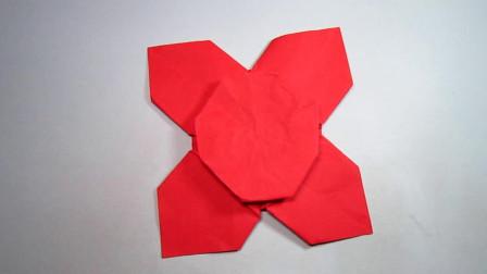 手工折纸简单的四瓣花,折法简单易学还超漂亮