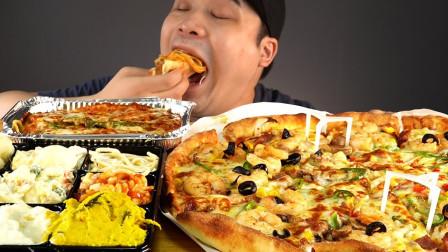 """韩国ASMR吃播:""""虾仁芝士披萨+芝士焗意大利面"""",听这咀嚼音,吃货小哥donkey吃得真馋人"""