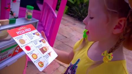 国外儿童时尚,小女孩亲手制作披萨送外卖,赚到了好多零花钱