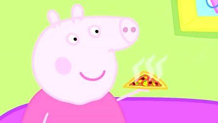 小猪佩奇趣事:小猪佩奇和爷爷吃披萨,我也想吃
