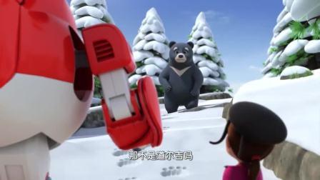 超级飞侠:小熊被困在悬崖,大熊紧急求救,需要超级飞侠的帮助