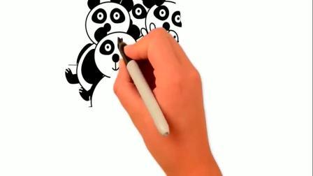 简笔画小猪佩奇与熊猫的合影,早教益智绘画涂鸦(1)