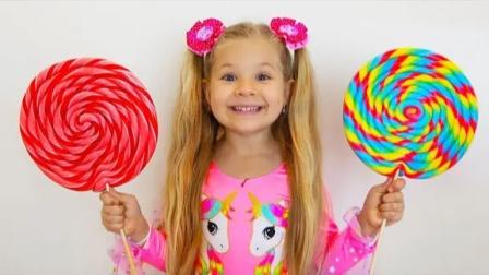 亲子游戏:小萝莉和小正太吃棒棒糖、巧克力、棉花糖!