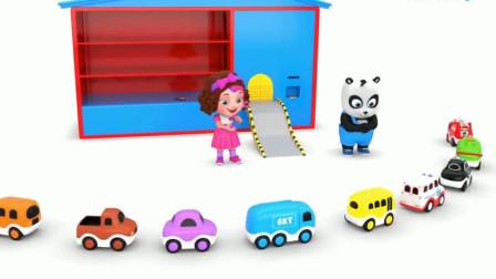 汽车玩具视频:熊猫奇奇遥控小汽车从多层车库里出来