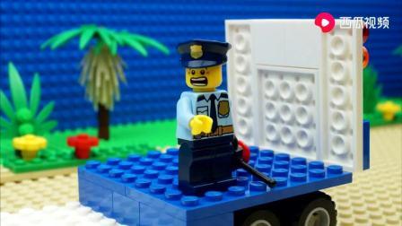 乐高城市推土机卡车警车压路机玩具动画!