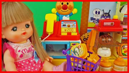 小猪佩奇的小吃店玩具开张了,咪露妹妹来购物
