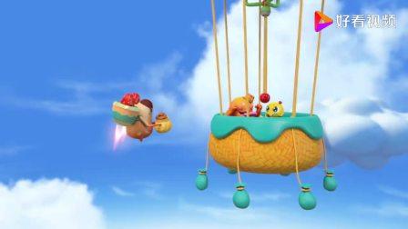 疯狂小糖:小糖和布丁坐热气球,想要拿到棉花糖,不太容易啊