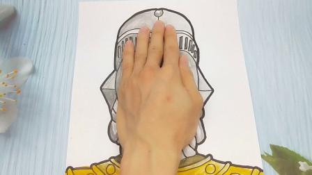 只需手掌放在A4纸手绘奥特曼之王,简单画法又好看的手势画