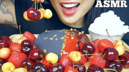 """韩国ASMR吃播:""""黑红心慕斯蛋糕+樱桃+草莓+奶油"""",听这咀嚼音,吃货欧尼吃得真馋人"""