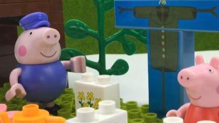 小猪佩奇积木玩具 猪爷爷的稻草人