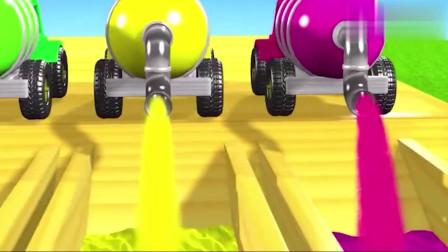 彩色的水罐车拉来彩色的水填满泳池,小鸭子游泳染色
