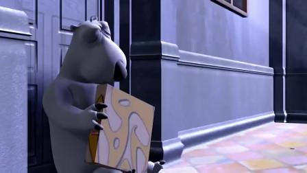 贝肯熊和木乃伊抢披萨,临走还不忘拿钱