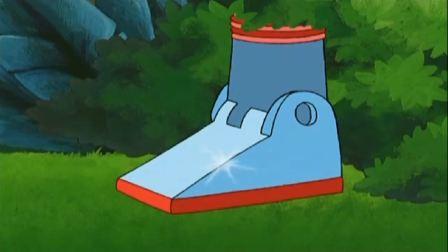 爱探险的朵拉:布茨真开心,跳远看见金属靴子,找到个机器人