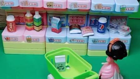 白雪去超市买吃的,还买了小蛋糕和牛肉面,可是白雪忘记带钱了!
