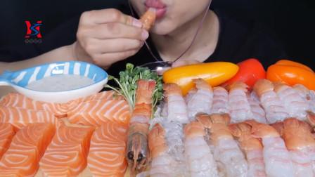 韩国帅哥吃三文鱼生鱼片、生虾仁鲜虾,声音滑嫩可口,鲜美至极