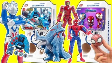 泽塔奥特曼变身器扭蛋融合变身对战怪兽,超级英雄大头拼装扭蛋