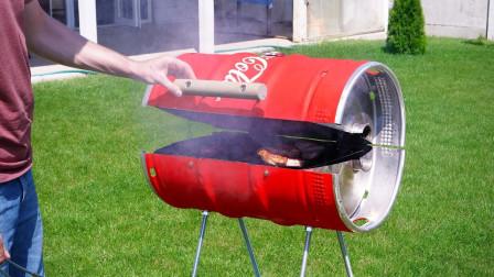 易拉罐还能这样玩?老外自制超大烧烤架,看完馋得口水直流!