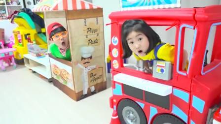 美国萌宝时尚!萌宝和可爱的哥哥的卖披萨比赛!一定超有趣
