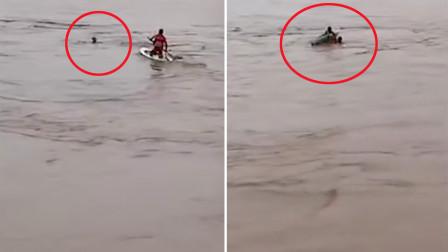 绝处逢生!钓鱼男子落水 退役运动员黄河里上演27秒浆板救人