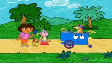 爱探险的朵拉:朵拉真是好孩子,吃完的冰棒棍,扔到垃圾桶里