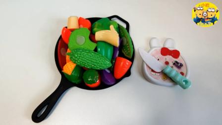 儿童趣味切切乐玩具:认识各种水果、蔬菜,玩切切乐过家家玩具!