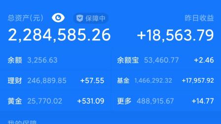【200万梭哈支付宝理财】昨天收益18563元,累计收益50万。