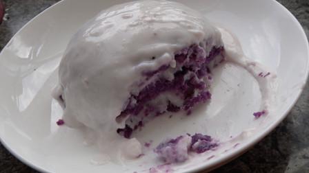 紫薯和山药蒸一蒸,压成泥,这个做法我家孩子最爱吃!