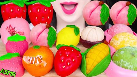 """韩国ASMR吃播:""""各种和菓子+糯米糍冰淇淋"""",听这咀嚼音,吃货欧尼吃得真过瘾"""