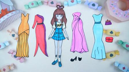纸娃娃创意手工:给叶罗丽王默制作四件晚礼裙,你喜欢哪件呢