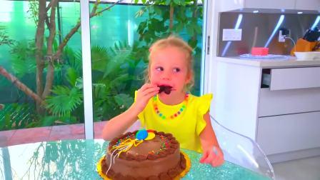 国外儿童时尚,小萝莉生日爸爸亲自动手做生日蛋糕