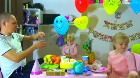 国外儿童时尚,萌宝姐妹过生日,爸爸准备了特别的生日蛋糕