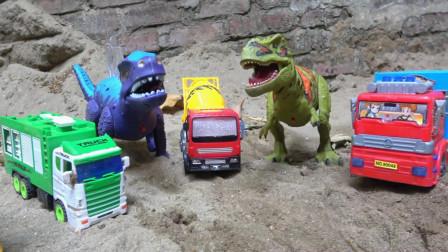 亮亮玩具汽车工程车和恐龙玩具试玩,婴幼儿宝宝早教益智游戏视频
