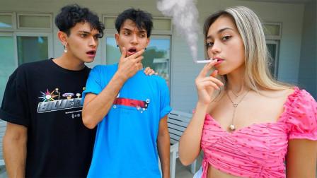 女友恶搞反击战,假装抽烟测试男友的反应,结