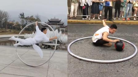 技巧与力量的结合!小伙街头表演花式滚环,这舞姿太优美了!