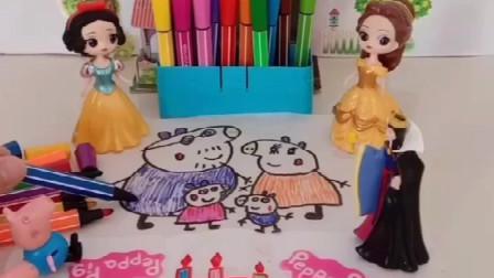 白雪公主画蛋糕,贝儿居然笑话画的难看,佩奇一家都喜欢白雪画的画