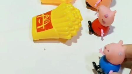 小猪乔治喜欢吃薯条和披萨!