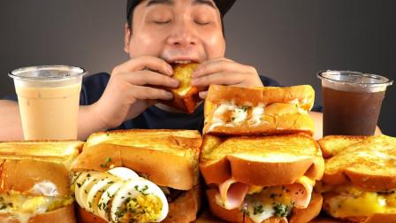 """韩国ASMR吃播:""""蛋黄酱三明治+培根芝士三明治+珍珠奶茶"""",听这咀嚼音,吃货小哥donkey吃得真馋人"""