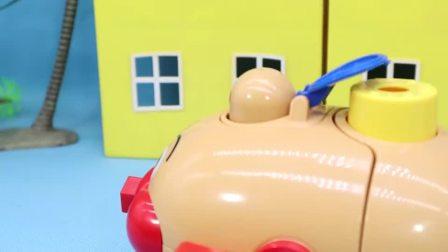 红豆面包超人撞车了 小猪佩奇帮忙组装猪仔车