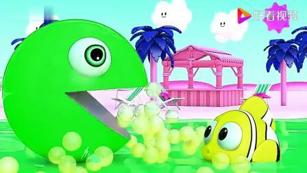 儿童益智早教,卡通3D球吃彩色豆豆鱼变颜色!