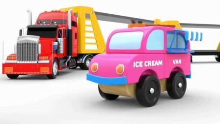 汽车卡通 超级卡车运载萌萌的警车消防车救护车环卫车冰激凌车