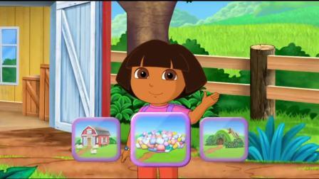 爱探险的朵拉:熊宝宝肚子饿,朵拉有饼干,颜色有紫色玫粉色的