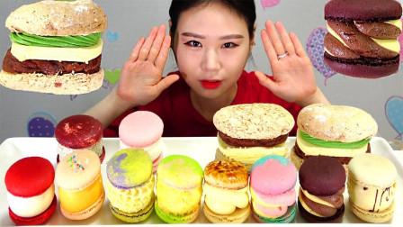 """韩国ASMR吃播:""""各种口味的马卡龙+巧克力芝士汉堡"""",听这咀嚼音,吃货卡妹吃得真馋人"""