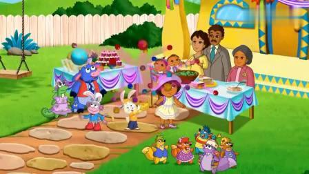 爱探险的朵拉:小兔子会魔法,满地都是球,大家一起找彩蛋