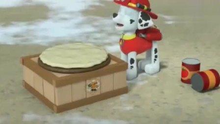 汪汪队立大功:狗狗们自己做披萨!亚力竟然做了爷爷的脸型披萨!
