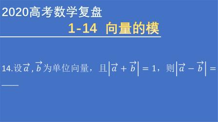 2020高考数学全国I卷(理)真题 选择  14 向量的模