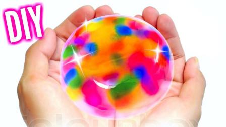 """把彩色液体倒进去后,转眼就变成了""""彩虹蛋糕""""!还会扭一扭!"""