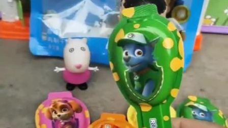 小羊苏西见大头儿子买了食物,大头儿子告他,是汪汪队图案的奶酪