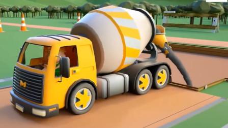 儿童工程车动画 推土机翻斗车水泥搅拌车迷你挖掘机建造火车站