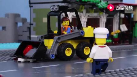 乐高城市蛋糕店砖块建造定格动画,乐高城市烹饪发生事故!